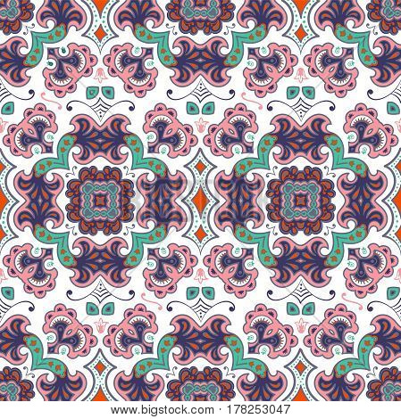 Hand Drawn Vector Ethnic Ornamental Seamless Pattern Texture