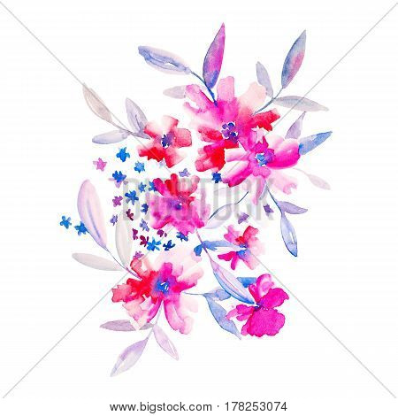 Watercolor flowers illustration. Isolated composition. Good for greeting cards scrapbook and etc.