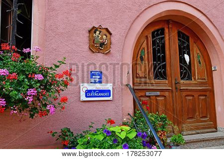Eguisheim France - july 23 2016 : furnished apartment in the historical village in summer
