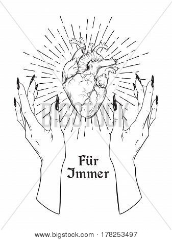 Human Heart In Graceful Female Hands Isolated. Sticker, Print Or Blackwork Tattoo Hand Drawn Vector
