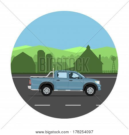 Pickup truck on the village road. Man driving the car. Vector illustration. Flat design without gradients.