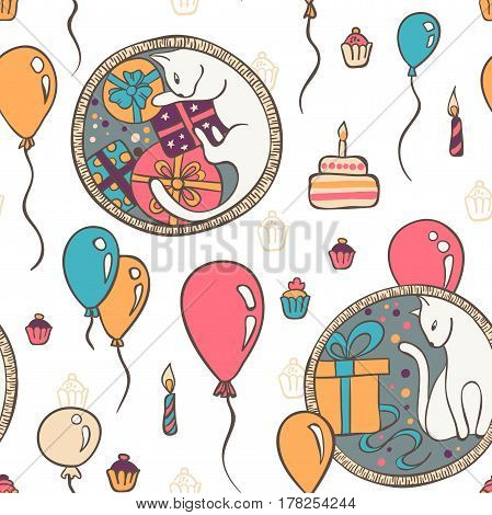 Vector Seamless Pattern With Cats And Birthday Cakes And Gifts