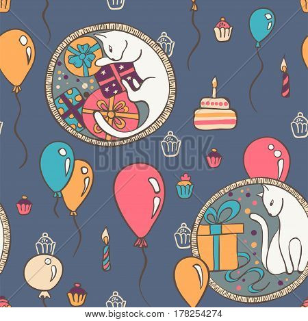 Vector seamless pattern with cats and birthday cakes