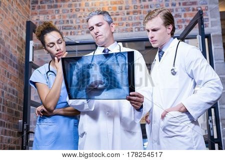 Group of doctors examining a x report in hospital
