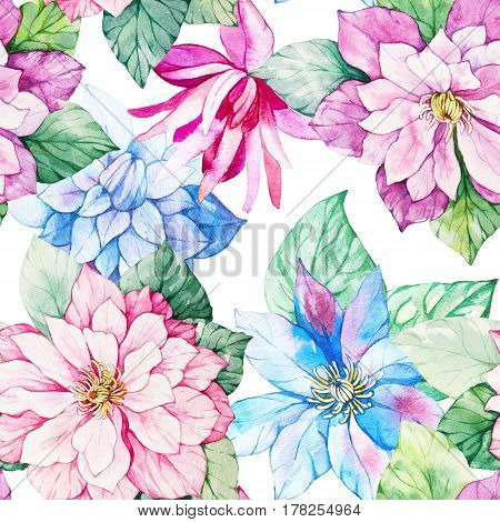 Watercolor floral botanical seamless pattern. Good for printing on fabric wrapping paper wallpaper. Raster illustration.
