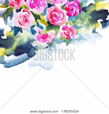Invitation Card For Wedding Day With Watercolor Flowers