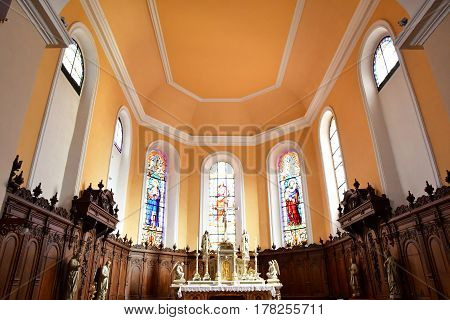 Eguisheim France - july 23 2016 : the saint Pierre saint Paul church