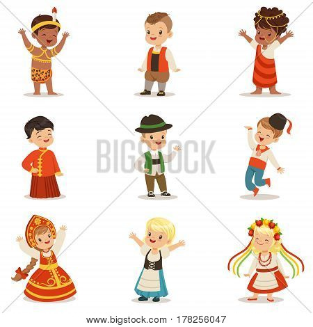 Kids Wearing National Costumes Of Different Countries Set Of Cute Boys And Girls In Clothes Representing Nationality. Small Children In Cultural Disguise Series Of Cartoon Vector Illustrations