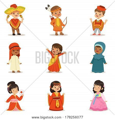 Kids Wearing National Costumes Of Different Countries Collection Of Cute Boys And Girls In Clothes Representing Nationality. Small Children In Cultural Disguise Series Of Cartoon Vector Illustrations