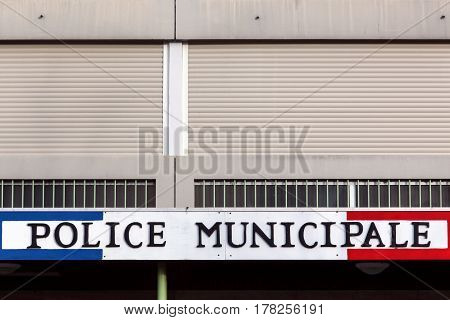 Jassans, France - February 12, 2016: Municipal Police building in France. The Municipal Police are the local police of towns and cities in France outside the capital