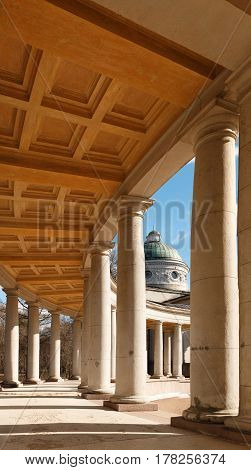 Manor Arkhangelskoe. Temple-tomb Colonnade . Spring In The Park.
