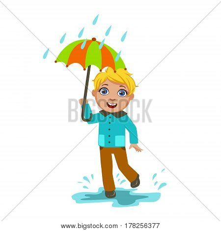 Boy Under Raindrops With Umbrella , Kid In Autumn Clothes In Fall Season Enjoyingn Rain And Rainy Weather, Splashes And Puddles. Cute Cheerful Child In Warm Clothing Having Fun Outdoors Vector Illustration.