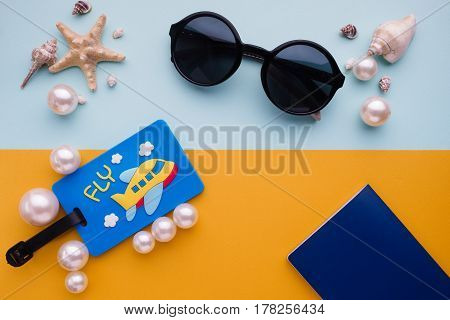 Top View Of Hipster Traveler Accessories And Items On Yellow And Blue Background ,travel And Holiday