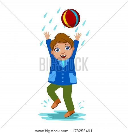 Boy Playing With The Ball, Kid In Autumn Clothes In Fall Season Enjoyingn Rain And Rainy Weather, Splashes And Puddles. Cute Cheerful Child In Warm Clothing Having Fun Outdoors Vector Illustration.