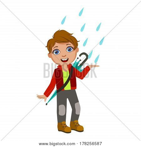 Boy In Red Jacket Catching Raindrops, Kid In Autumn Clothes In Fall Season Enjoyingn Rain And Rainy Weather, Splashes And Puddles. Cute Cheerful Child In Warm Clothing Having Fun Outdoors Vector Illustration.