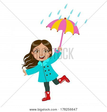 Girl Dancing Under Raindrops With Umbrella, Kid In Autumn Clothes In Fall Season Enjoyingn Rain And Rainy Weather, Splashes And Puddles. Cute Cheerful Child In Warm Clothing Having Fun Outdoors Vector Illustration.