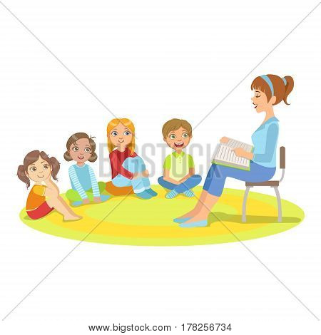 Group Of Small Kids Sitting Around The Teacher Reading A Story. Cute Children In Elementary School Class Listening To Adult Reading A Book Vector Illustration.