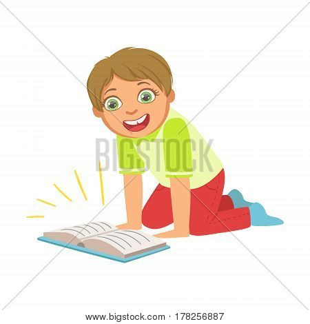 Boy Laughing Reading A Book, Part Of Kids Loving To Read Vector Illustrations Series. Bookworm Young Child Who Loves Storybooks And Literature Cartoon Character.