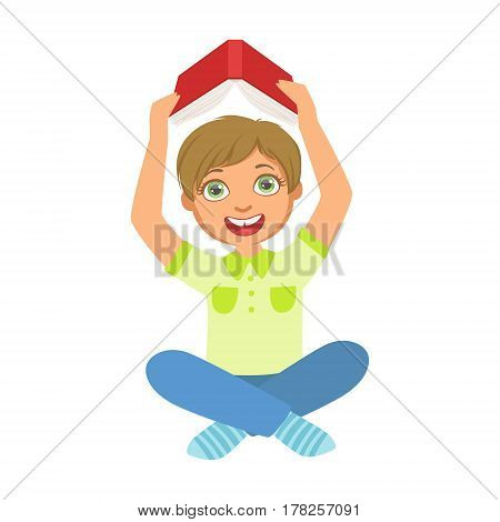 Boy Reading A Book Holding It Above The Head, Part Of Kids Loving To Read Vector Illustrations Series. Bookworm Young Child Who Loves Storybooks And Literature Cartoon Character.