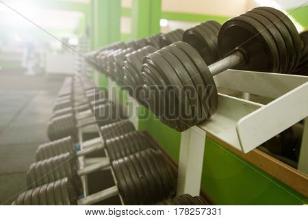 dumbbell in gym equipment. Working out in the gym.