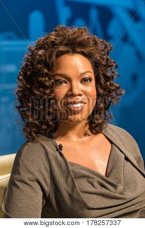 BANGKOK - JAN 29: A waxwork of Oprah Winfrey on display at Madame Tussauds on January 29 2016 in Bangkok Thailand. Madame Tussauds' newest branch hosts waxworks of numerous stars and celebrities