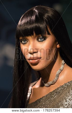 BANGKOK-JAN 29:A waxwork of Naomi Elaine Campbell on display at Madame Tussauds on January29 2016 in Bangkok Thailand. Madame Tussauds' newest branch hosts waxworks of numerous stars and celebrities