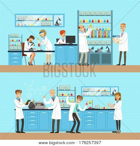 Chemists In The Chemical Research Lab Doing Experiments And Running Chemical Tests. Busy Scientists In Lab Coats In Institute Laboratory Set Of Two Cartoon Illustrations.