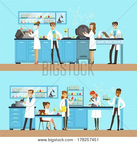 Chemists In The Chemical Research Laboratory Doing Experiments And Running Chemical Tests. Busy Scientists In Lab Coats In Institute Lab Set Of Two Cartoon Illustrations.
