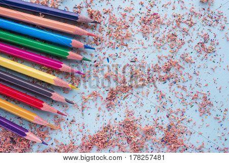 Color Pencils,color Pencil Shaves On A Paper