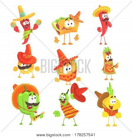 Mexican Food And Vegetables Series OF Cool Cartoon Characters In National Clothes With Guitars And Maracas, Smiling And Dancing. Funny Alive Eatable Characters From Mexico With Culture Attributes.