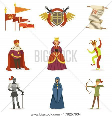 Medieval Cartoon Characters And European Middle Ages Historic Period Attributes Collection Of Icons. Fairy Tale And Fable Related Vector Illustrations Inspired By Europe History.