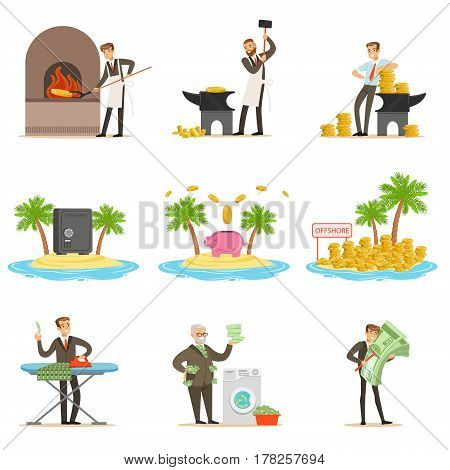 Illegal Money Laundering And Using Offshores Set Of Illustrations With Corrupt Businessman Washing Dirty Money. Business, Corruption And Tax Heaven Related Collection Of Metaphorical Cartoon Illustrations.