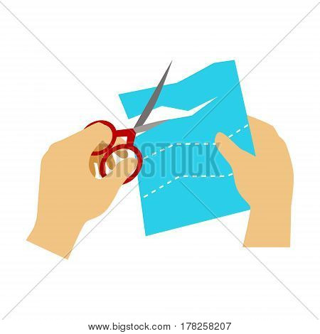 Two Hands Cutting Paper With Scissors For Applique, Elementary School Art Class Vector Illustration. Craft And Art For Young Kids Isolated Cartoon Vector Illustration .