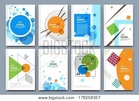 Abstract composition. White a4 brochure cover design. Info banner frame. Patch text font. Title sheet model set. Modern vector front page. Brand logo texture. Colored figure image icon. Ad flyer
