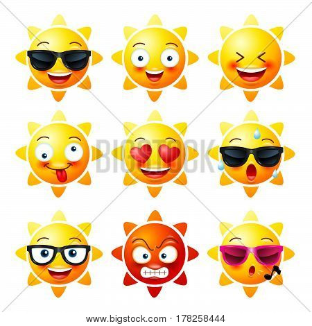 Sun Smiley face icons or yellow emoticons with emotional funny faces in realistic . emojis .Vector illustration