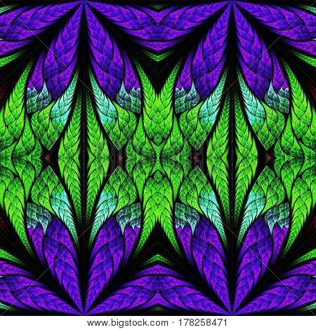 Symmetrical pattern in stained-glass window style. Blue purple and green palette. Artwork for creative design.