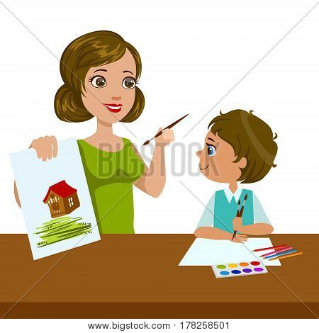 Teacher Teaching a Boy How To Paint, Elementary School Art Class Vector Illustration. Craft And Art For Young Kids Isolated Cartoon Vector Illustration .