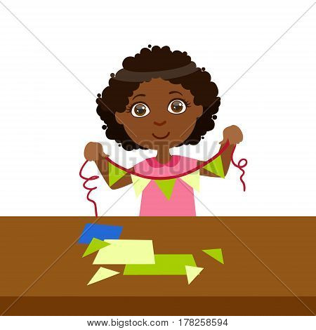 Boy Doing Paper Flag Garland On A String, Elementary School Art Class Vector Illustration. Craft And Art For Young Kids Isolated Cartoon Vector Illustration .