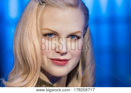 BANGKOK-JAN 29: A waxwork of Nicole Mary Kidman on display at Madame Tussauds on January 29 2016 in Bangkok Thailand. Madame Tussauds' newest branch hosts waxworks of numerous stars and celebrities