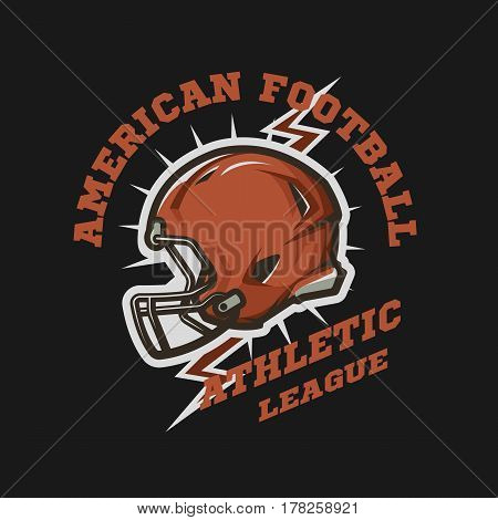 American football helmet emblem. Athletic League. Night street racer emblem logo. Vector illustration.