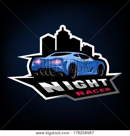 Night street racer emblem logo. Vector illustration.
