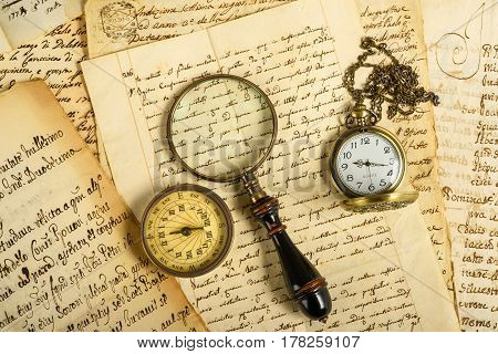 Pocketwatch Compass And Magnifying Glass
