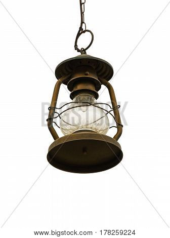 Street lamp hanging on a chain isolated on a white background