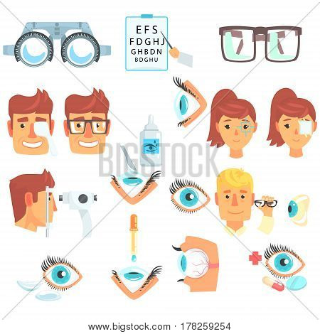 Ophthalmology Problem And Medical Treatment Infographic Cartoon Poster For Ophthalmologist Cabinet. Ophthalmological Tools And Sight Measurement Instruments, Different Eye Doctor Procedures And Treatments.