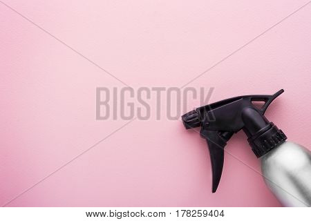 Hairdresser Spray Container Isolated On Pink With Copy Space