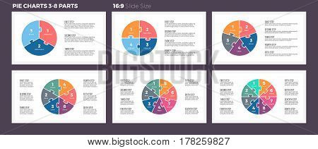 Business infographics. Pie charts with 3-8 steps, sections.