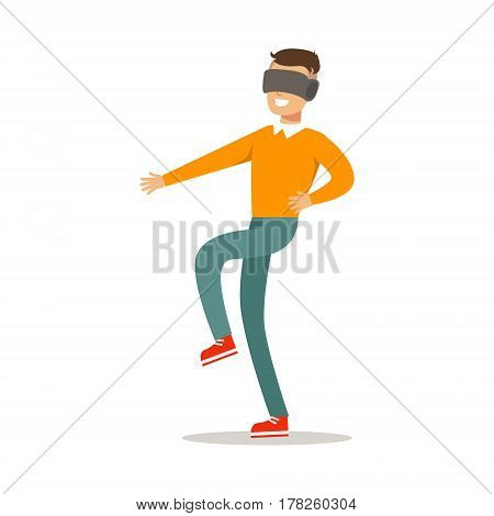 Guy Walking In Virtual Reality Glasses, Part Of Happy Gamers Enjoying Playing Video Game, People Indoors Having Fun With Computer Gaming. Modern Playing Technology Entertainment For Home Leisure Vector Illustration.