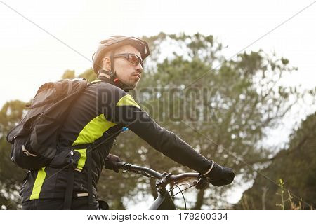 People, Sports And Healthy Active Lifestyle Concept. Attractive Young Caucasian Cyclist In Stylish B