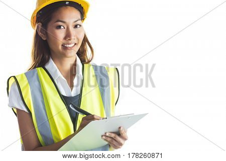 Architect woman with yellow helmet and plans on white background