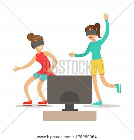 Girlfriends In Virtual Reality Glasses, Part Of Happy Gamers Enjoying Playing Video Game, People Indoors Having Fun With Computer Gaming. Modern Playing Technology Entertainment For Home Leisure Vector Illustration.